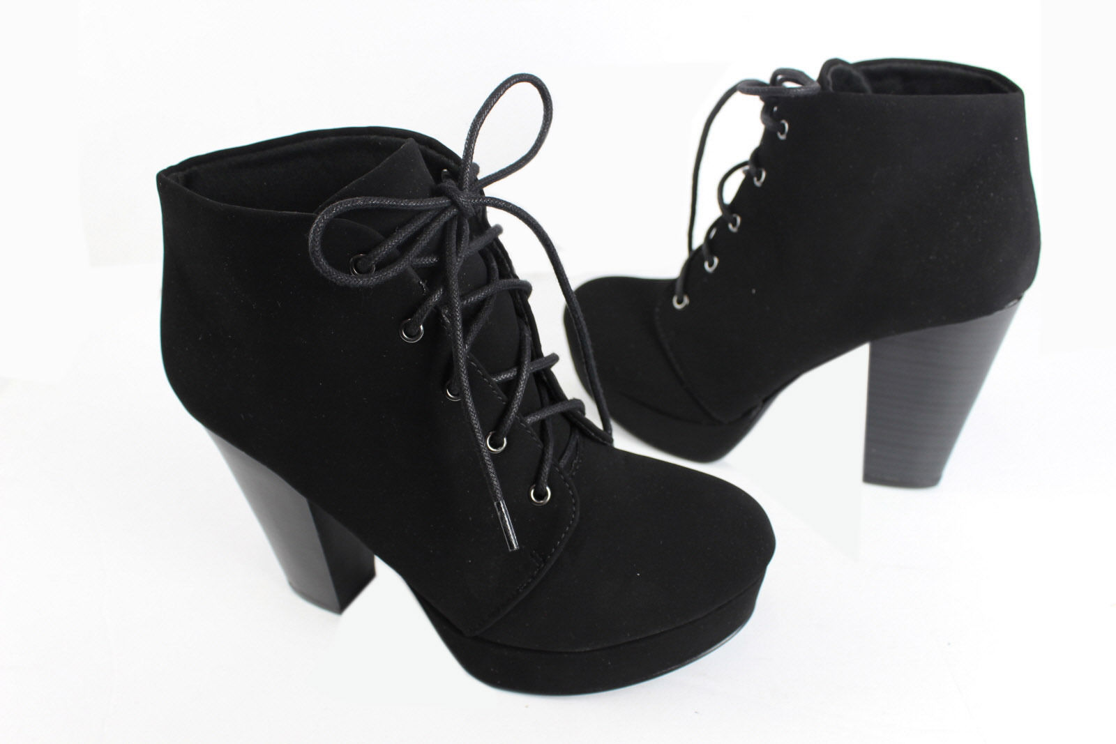 Soda Agenda-h Lady Lace Up Suede Ankle Boots Hi-Chunky Heel Platform Bootie BKNB