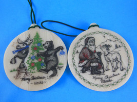 "Set of 2 Merry Christmas Alaska Christmas Ornaments 3"" Santa Reindeer Moose Bear - $16.82"