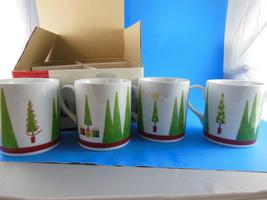 Studio Nova  Christmas Holiday Trees Mugs 14 oz Joyeux Noel Set of 4 New... - $20.09