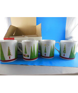 Studio Nova  Christmas Holiday Trees Mugs 14 oz Joyeux Noel Set of 4 New... - $20.09