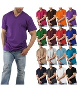 Men Solid V-Neck Short Sleeve T-Shirts Heavy Comfort Big and Tall Cotton - $11.39+