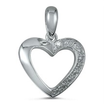 Sterling Silver Heart pendant Love New d14 - $8.79