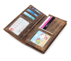 Men Crazy Horse Leather Expandable Travel ID Coin Breast Long Wallet Bifold  - $26.56
