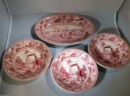 Lot of 4 dish bowl Johnson Brothers Historic America England Barnum's Museum red - $45.54