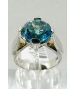 3  CTW GENUINE ROUND CUT BLUE TOPAZ & INLAY DIAMOND WHITE 14K GOLD RING ... - $593.01