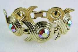 Vintage Sarah Cov Coventry Gold Tone Aurora Borealis Crystal Bracelet - $88.11