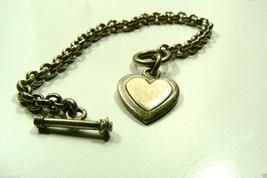 """VINTAGE ROLO LINK  LINK STERLING SILVER 925 HEART CHARM TOGGLE BRACELET 7""""L - $137.61"""