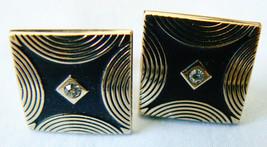 VINTAGE SWANK GOLD TONE METAL BLACK ENAMEL CRYSTAL ELEGANT DESIGN CUFF L... - $28.71