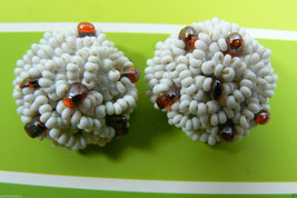 Vintage White Seed Glass Beads Cluster Clip On Earrings - $26.68