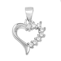 Sterling Silver Elegant CZ Heart Love pendant New d22 - $7.74