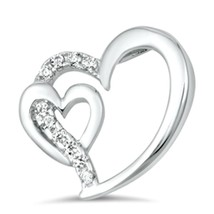 Sterling Silver Double CZ Heart Love pendant New d19 - $8.79