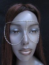 Women Silver Metal Mask Long Head Chain Fashion Jewelry Sunglasses Eye Cover - $10.82