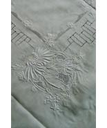 VTG Cream color Madeira Embroidery cut work Decor Accent Table Cloth 46x46 - $123.75