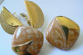 Lot of 2 Monet large earrings Gold Tone Enamel Hummered Great! - $26.73