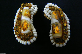 Vintage Hobe Signed Milk & Amber Art Glass Bean Shape Clip On Earrings - $57.92