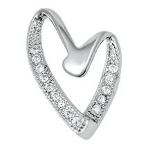 Sterling Silver Elegant Modern CZ Heart pendant New d29 - $10.59