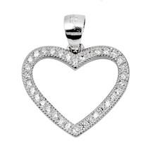 Sterling Silver Elegant CZ Heart pendant New d23 - $8.69