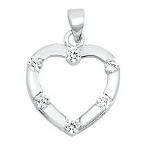 Sterling Silver Elegant CZ Heart pendant New d25 - $8.69