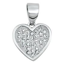 Sterling Silver Elegant CZ Heart pendant New d28 - $10.59