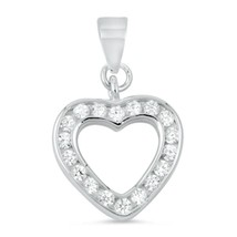 Sterling Silver CZ Heart pendant Love New d15 - $9.64