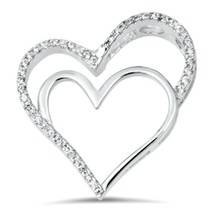 Sterling Silver CZ Sleek Double Heart Love pendant New d20 - $12.49