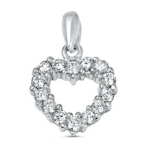Sterling Silver Sparkly CZ Heart Love pendant New d17 - $8.69