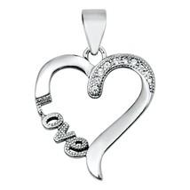 Sterling Silver Elegant CZ Heart pendant New d26 - $8.69