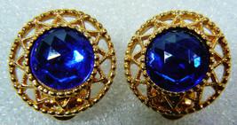 VTG SARAH COV COVENTRY GOLD TONE COBALT BLUE STONE ROUND CLIP ON EARRINGS - $26.73