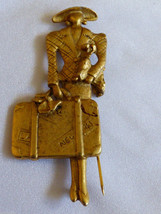 Large gold tone metal Modern Mary Poppins Trave... - $29.70