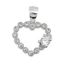 Sterling Silver Elegant CZ Heart pendant New d24 - $8.69
