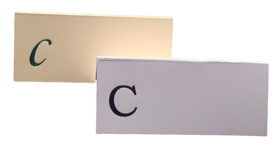 Large C - 50 Monogrammed place cards white or ivory block or script font