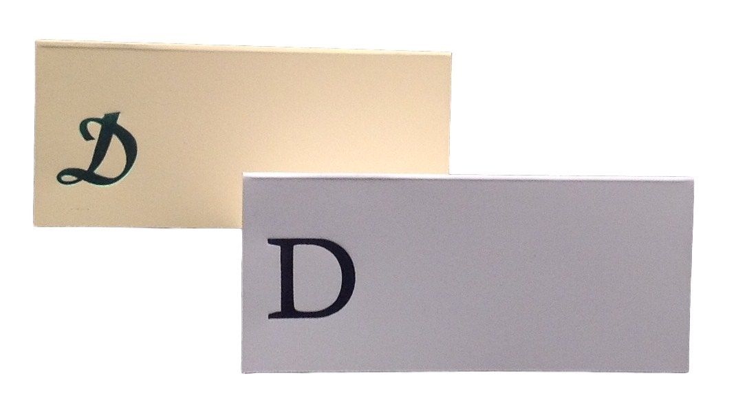 Large D - 50 Monogrammed place cards white or ivory block or script font
