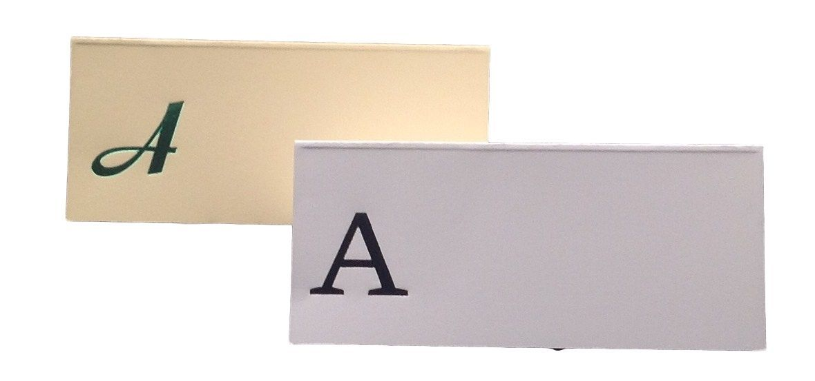 Large A - 50 Monogrammed place cards white or ivory block or script font