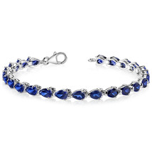 Women's Sterling Silver Pear Shape Blue Sapphire Tennis Bracelet - $299.99
