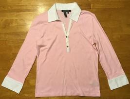 Ralph Lauren Women's Pink & White Long Sleeve Collared Polo Shirt- Size: XS - $14.03