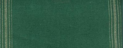 "Primary image for 27ct Ticking Stripe Green/Gold banding 8.7""w x 36"" (1yd) 100% linen Mill Hill"