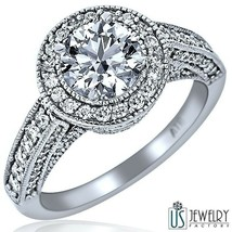 Natural 2.00 carat (1.00) E/VS Round Cut Diamond Engagement Ring 18k Whi... - €5.793,00 EUR