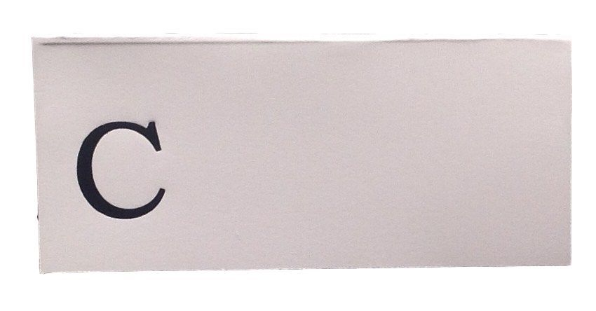 Large C - 50 Monogrammed place cards white or ivory block or script font image 2