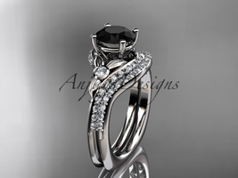 14kt white gold diamond engagement ring set, Black Diamond center stone ADLR112S - $2,299.00