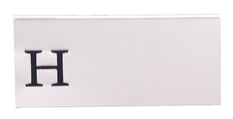 Large H - 50 Monogrammed place cards white or ivory block or script font