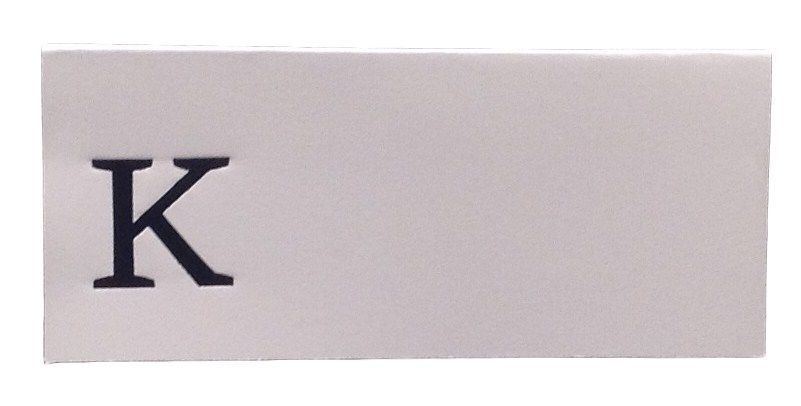 Large K - 50 Monogrammed place cards white or ivory block or script font