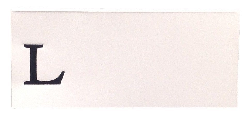 Large L - 50 Monogrammed place cards white or ivory block or script font