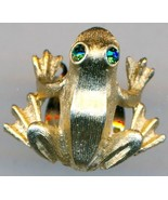Gold Tone Green Eyed Frog Pin - $2.73