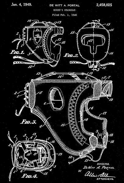 1949 - Boxer's Headgear - Sports - D. A. Portal - Patent Art Poster - $9.99 - $64.99