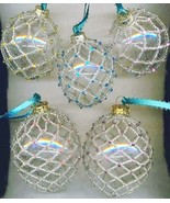 Silver Beaded Clear Glass Christmas Ornaments  - $35.25