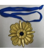 SUPER MEDAL GOLD PLASTIC WITH BLUE STONE 4 X 4 INCHES - $4.75