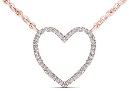 IGI Certified Solid 10k Rose Gold 0.10 Ct Diamond Bold Heart Pendant Nec... - $159.99