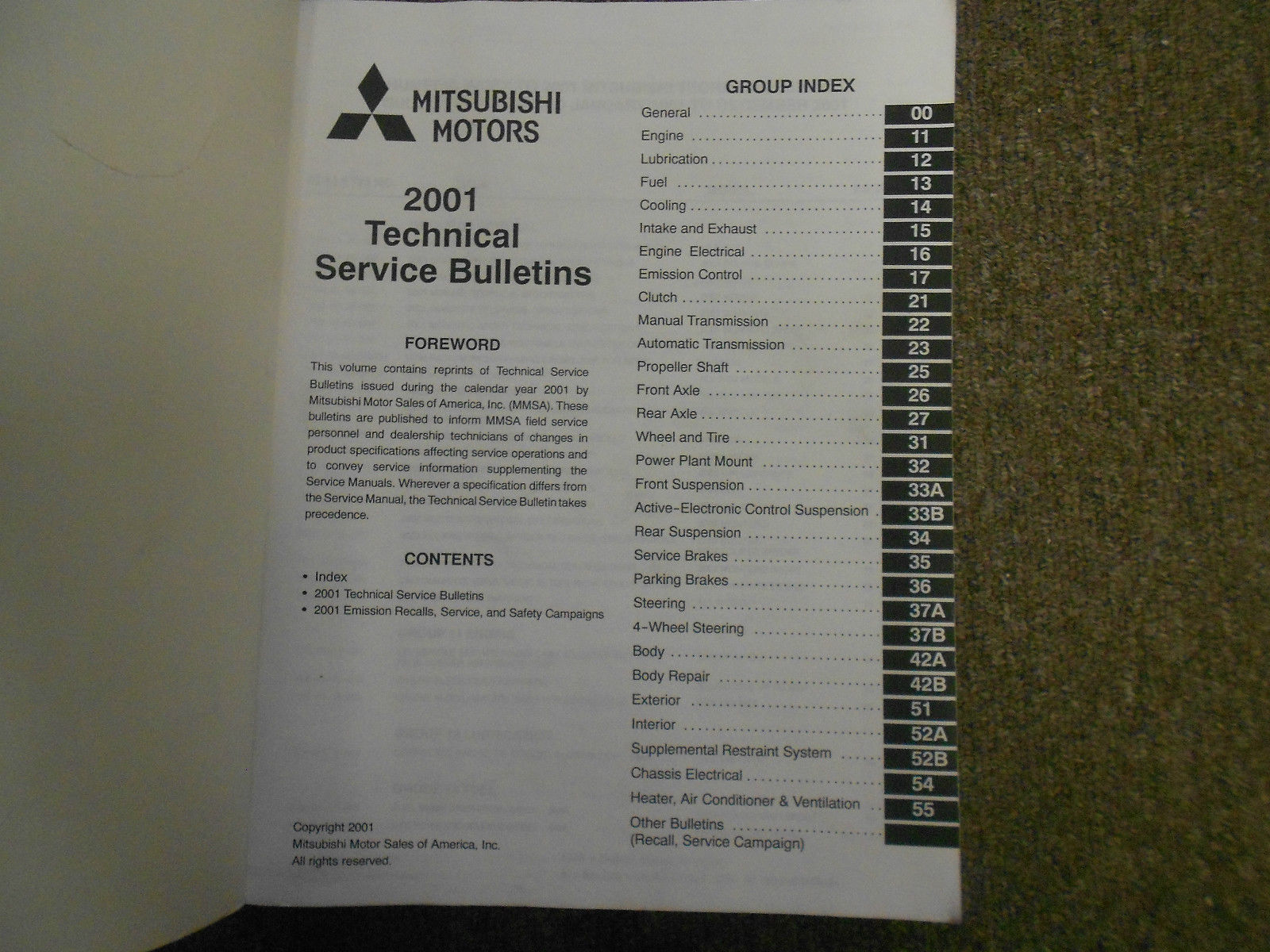 2001 MITSUBISHI Eclipse Spyder VOL 1 Technical Bulletins Service Manual SET OEM image 5