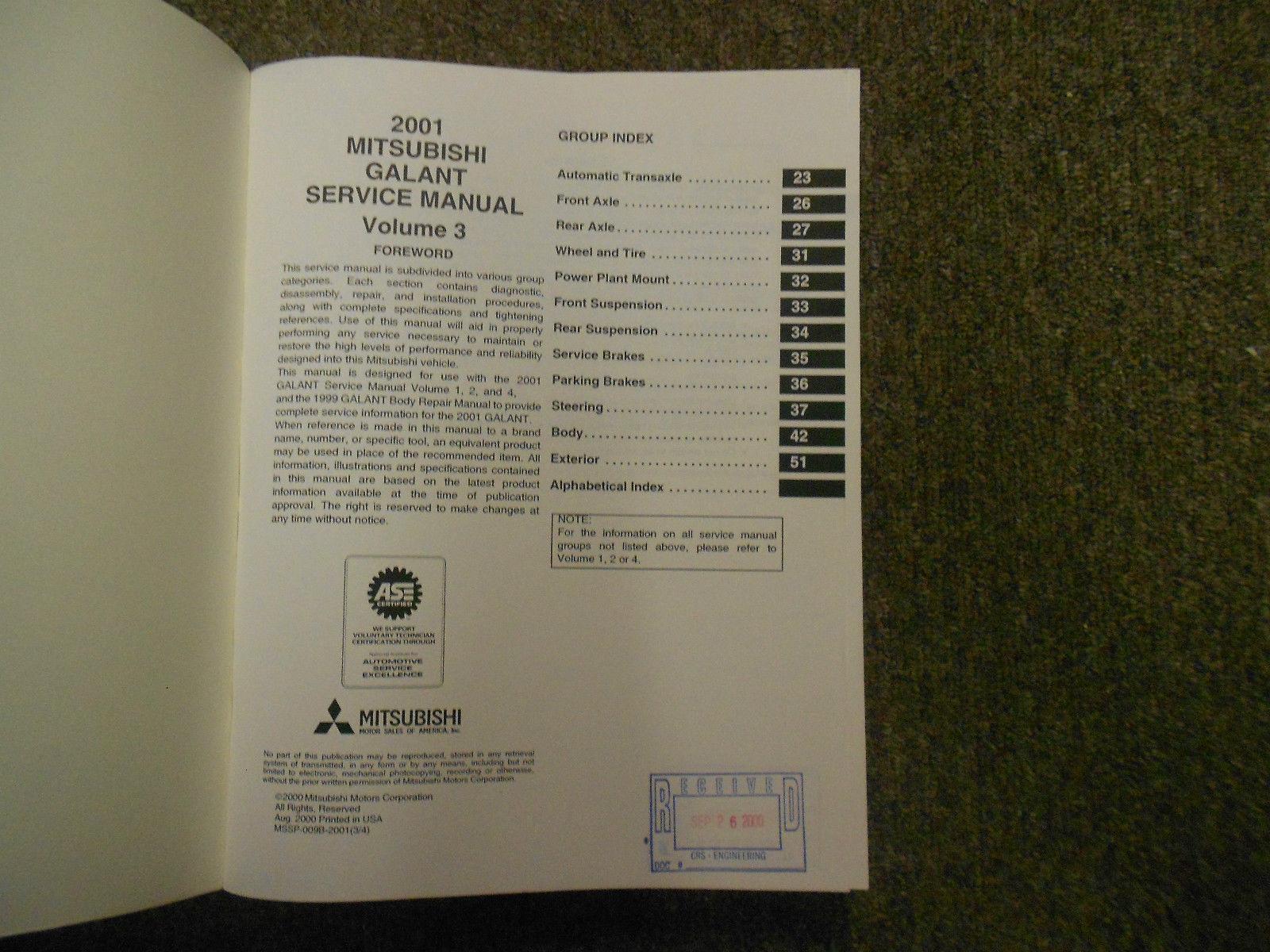 2001 MITSUBISHI Galant Service Repair Shop Manual FACTORY OEM SET BOOK x 4 VOL image 4