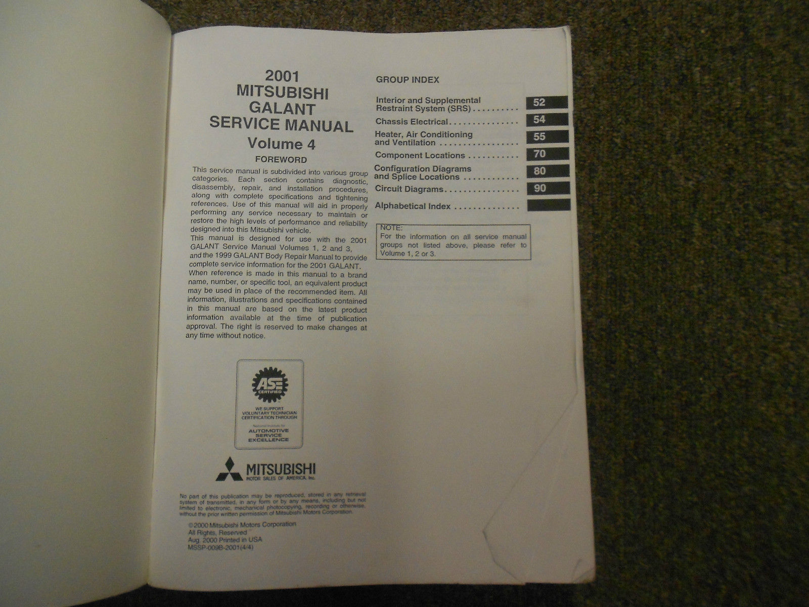 2001 MITSUBISHI Galant Service Repair Shop Manual FACTORY OEM SET BOOK x 4 VOL image 5